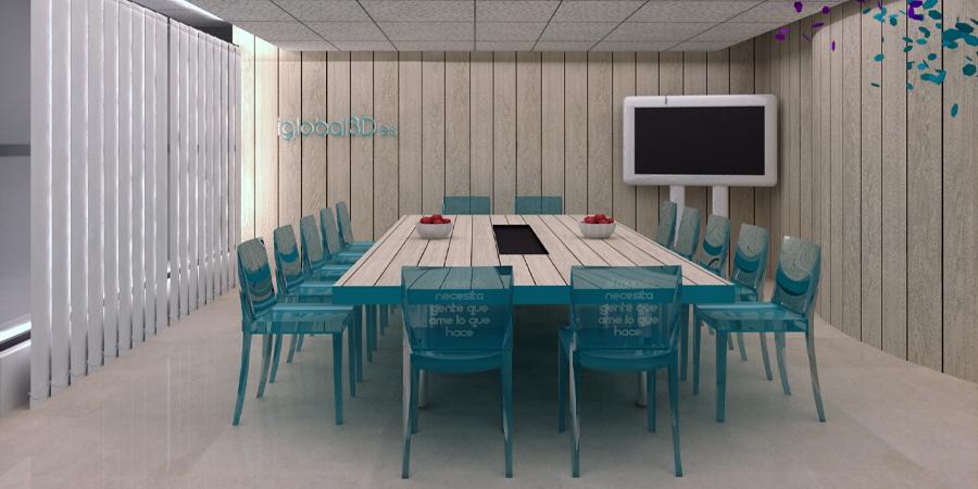 visualizacion 3d sala de reuniones